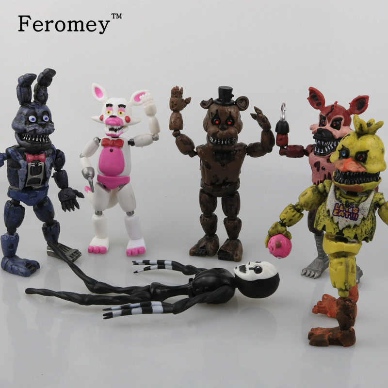 New Arrival Five Nights At Freddy's FNAF Action Figures Toys Bonnie Foxy Freddy Fazbear Bear PVC Figure Dolls Toys for Children 6pcs set disney trolls dolls action figures toys popular anime cartoon the good luck trolls dolls pvc toys for children gift