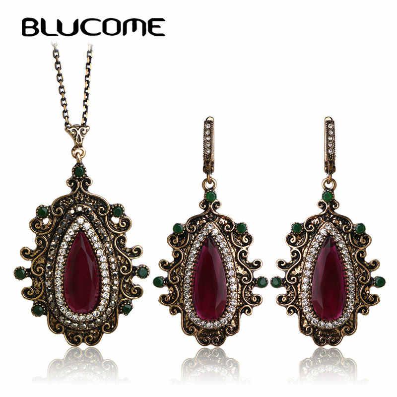 Blucome Crystal Resin Vintage Jewelry Sets marka Bijoux Water Drop francuski haki naszyjnik kolczyki zestaw turecki kobiety prezenty dla pań