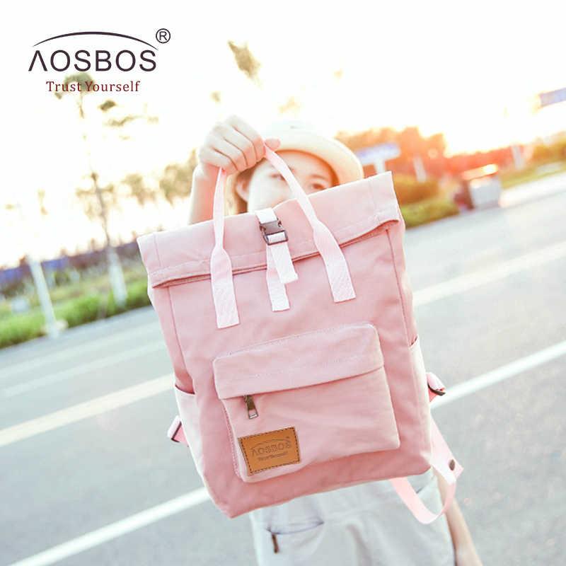 Aosbos, Модные Портативные нейлоновые школьные рюкзаки, карамельный цвет, рюкзак для девочек, ранец, женский, консервативный стиль, школьные сумки для подростков