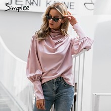 Simplee Vintage pink satin women blouse Turtle neck pleated luxury blouse shirt Solid lantern sleeve fashion elegant party tops(China)