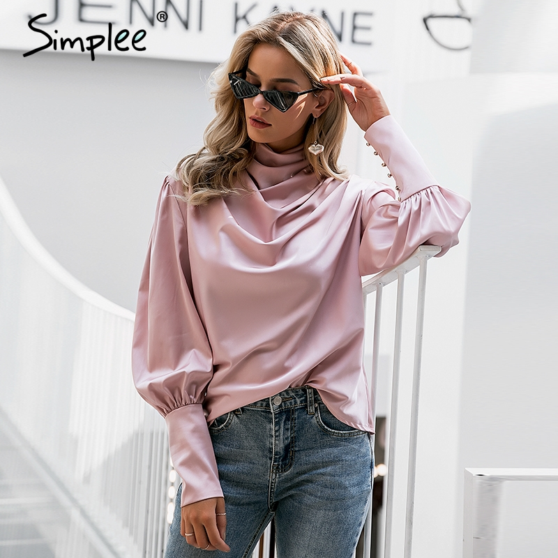 Simplee Vintage pink satin women   blouse   Turtle neck pleated luxury   blouse     shirt   Solid lantern sleeve fashion elegant party tops