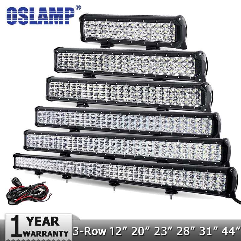 "Prix pour Oslamp 12 ""20"" 23 ""28"" 31 ""44"" 3-Row LED Lumière Bar Offroad CREE Puces Combo Led Light Work 12 v 24 v Camion SUV ATV 4WD 4x4 Led Bar"