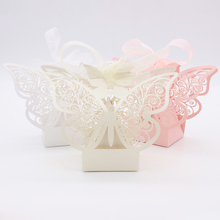 50pcs/lot Butterfly Candy Box Pink Laser Wedding Party Decoration Baby Shower Chocolate Favour with Ribbon