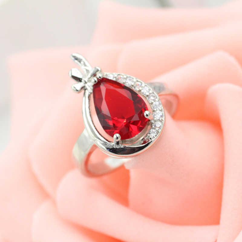 Venta al por mayor de Plata de Ley 925 CZ anillo de circonita de moda azul gota de agua cristal boda Anillos De Compromiso banda para mujeres Ulove
