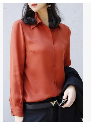The spring of 2017 high end goods 40 small cattle real momme heavy silk shirt font