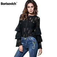 Borisovich Brand New 2017 Spring Summer Fashion Euramerican Style Ruffles Elegant Women Chiffon Casual Blouses Shirts K120