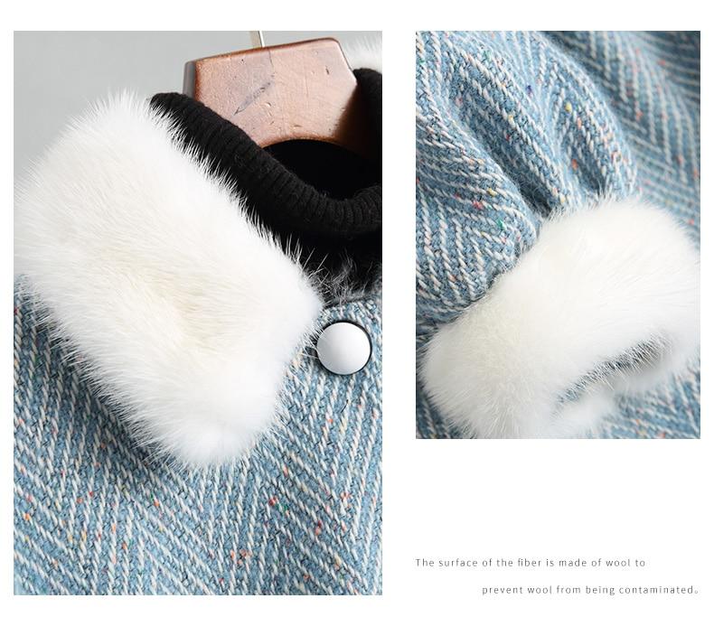Vison Bleu Naturel D'agneau Tweed Luxe Manteaux Ayunsue Laine Fourrure 2018 Réel De Doublure Femmes Wyq1750 Femelle D'hiver Col Manteau Longue axHgFq
