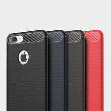 Carbon Fiber Silicone Case For Iphone 8Plus Drop Protection Mobile Phone