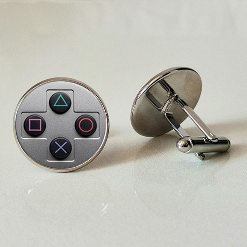 WUSQWSC Double New Fashion Men's Cufflinks Video Shirt High Quality Twins Game Playstation Cufflinks Round Glass Cufflinks