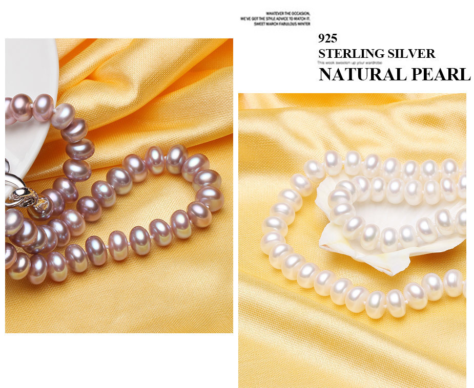 pearl necklace with 925 silver accessories fine jewelry for party wedding