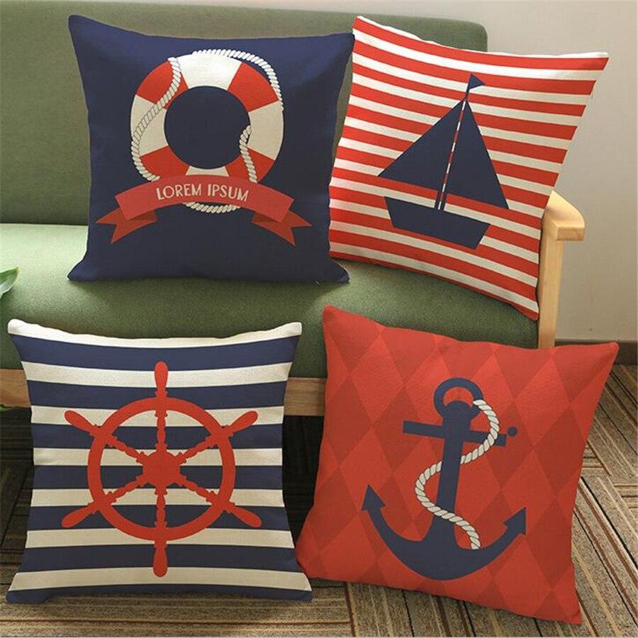 Marine Ocean Decorative Velvet Cushion Cover Home Decor Sea Turtle Patterns Square Sofa Throw Pillow Case Bed Cotton Linen e1325