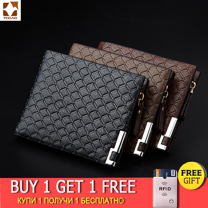 TCGAD Man Wallet 2019 Short Purse Billetera Hombre Porte Feuille PU Male Big Pocket Skin Wallets 2019 Vintage Luxury Man Purse