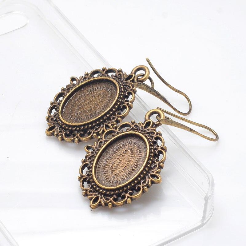 13*18mm Oval Cabochon Setting Earring Antique Bronze Metal Zinc Alloy Hoop Filigree Earrings Base Findings 8pcs/lot E8783
