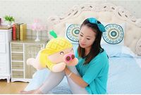cute yellow pineapple pig toy plush lying pig doll gift about 50cm 0010