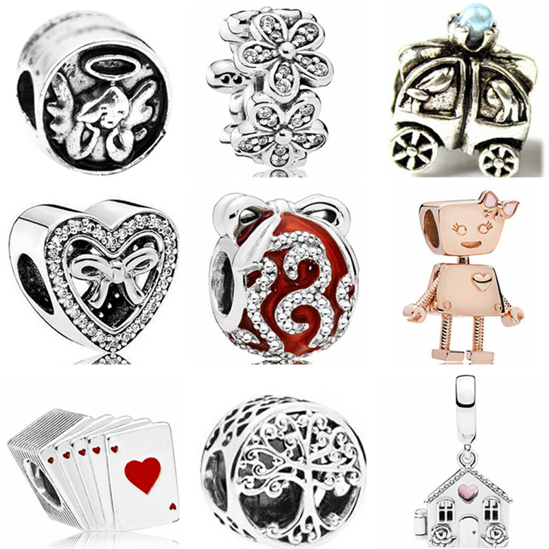 Punk Tribal Jewelry Silver Color Elephant Pine Cone Stars Robot Alloy Beads Fit Pandora Charms Bracelets For Women Vintage DIY