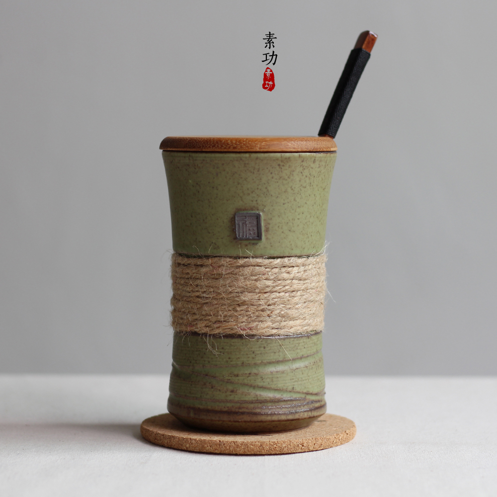 380ML Japanese style Ceramic mug vintage bands individuality brief ceramic mug belt with cover and spoon coffee gift