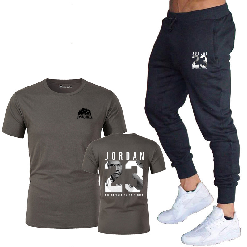 2019 summer season new model LOGO clothes Jordan 23 males's T-shirt + pants humorous stretch cotton health booty shirt lovers set T-Shirts, Low-cost T-Shirts, 2019 summer season new model...