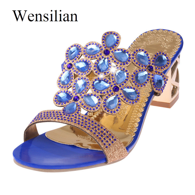 Designer Sandals Women 2018 Ladies Slides Women Slippers Sandals Summer Crystal Shoes Peep Toe Middle Heels Zapatos Mujer 2