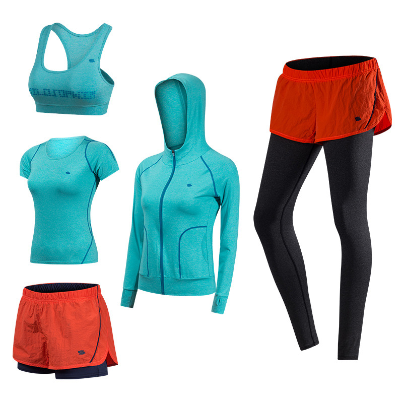 Brand 2018 5PCS Sport Suits Women's Fitness Yoga Set Running Sportswear Tights Training Jogging Suit Gym Sports Clothes Set new stretch yoga running suits fitness sports woman gym clothe suit short sleeved jogging femme 3 set clothing for women