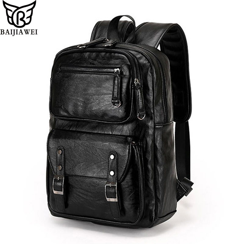 BAIJIAWEI New Arrival Men Backpacks High Grade PU Leather Fashion Travel Bags Scientific Carrying System Backpack