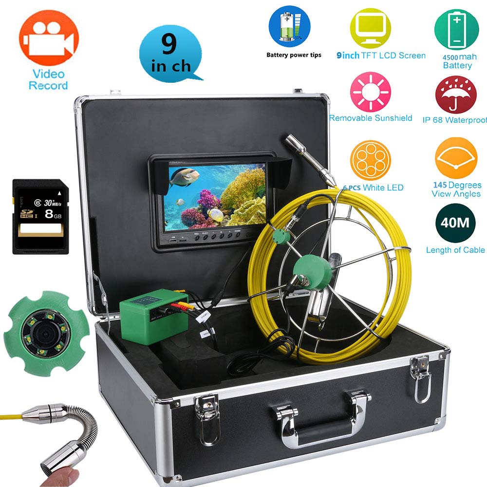 9 LCD DVR Pipe Inspection Video Endoscope font b Camera b font 20M 30M 40m 50M