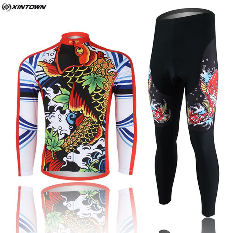Hot XINTOWN Men Red MTB Bike jersey Pants Sets Pro Team Cycling clothing Riding Wear Long Sleeve Shirts Coolmax