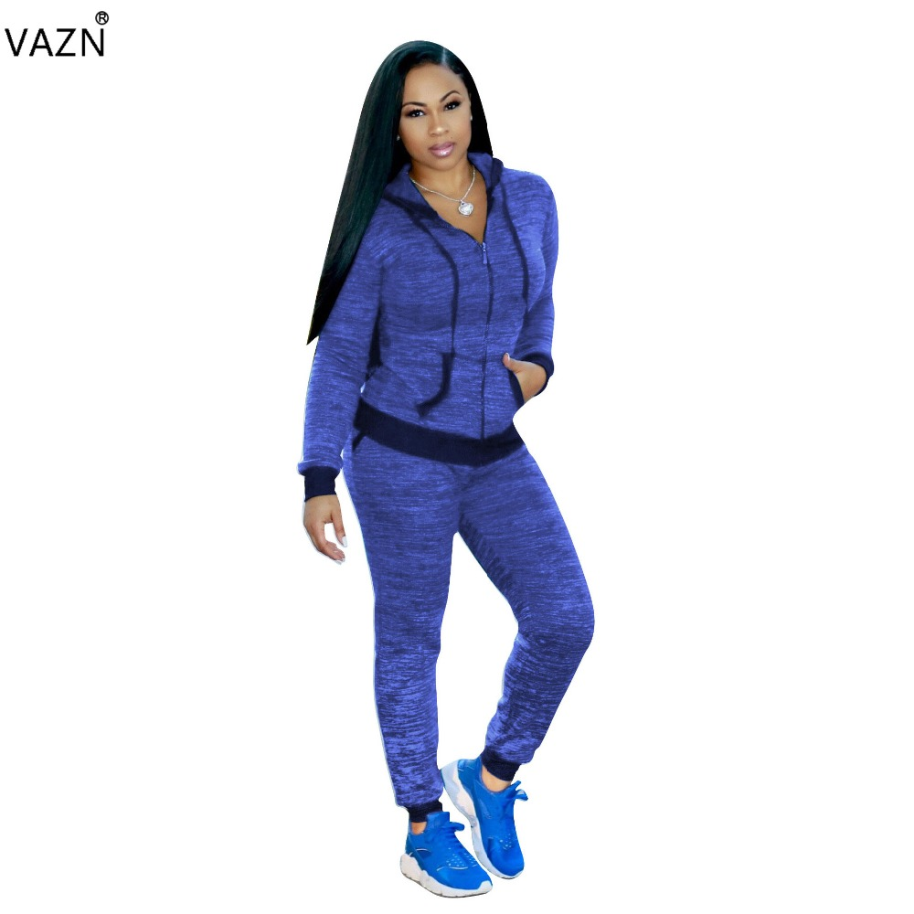 VAZN 2018 New Style Brand Fashion Casual Jumpsuit Full Sleeve Long Jumpsuit 2 Piece Sexy Women Jumpsuit 3381