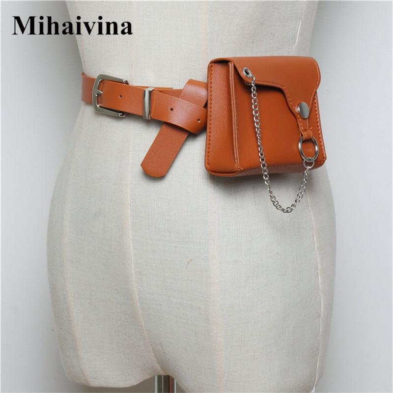 Mihaivina Mini Fanny Pack For Women Waist Bag Snake Skin Small Belt Bag Leather Fanny Packs Ladies Waist Pack Bags Chain Belt