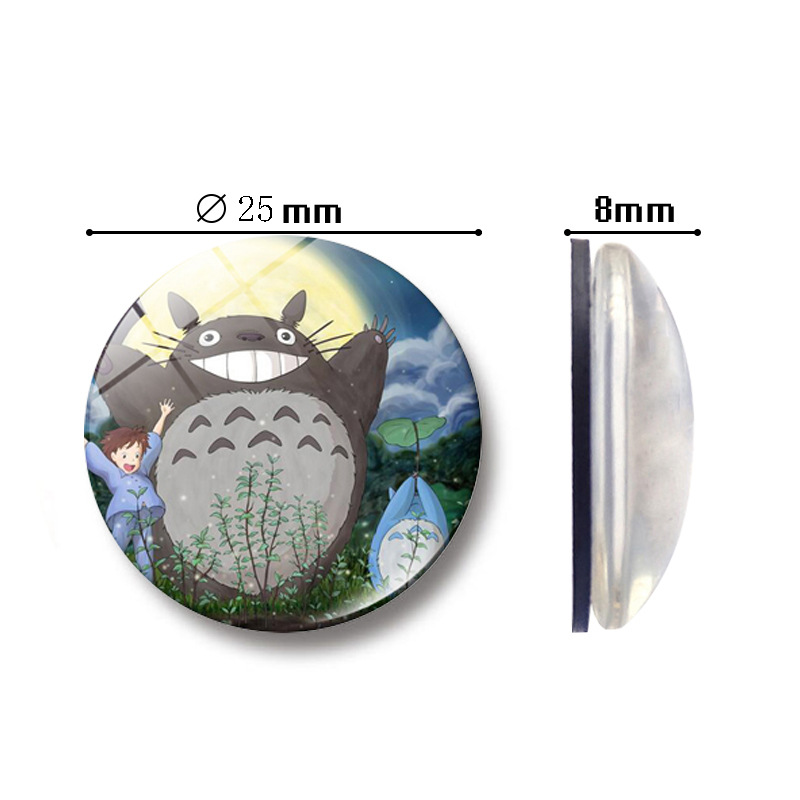 5 pcs Totoro Comic Character set glass Figurine Toy Model Hayao Miyazaki mini action figure Refrigerator stickers Deco for kids