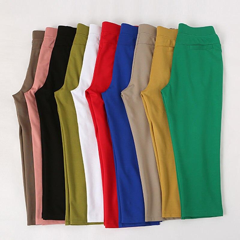 Hot Sale 2019 Summer Capris Pants Women Fashion High Waist Casual Candy Colors Ladies Straight Female