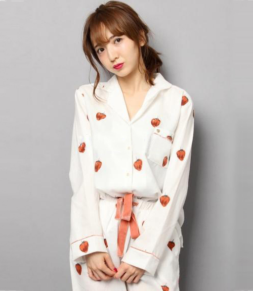 JAPAN Gp Strawberry Pajamas Pyjamas Set Long Sleeve Sleepwear Pijama Pajamas Suit Female Sleep Two Piece Set Loungewear