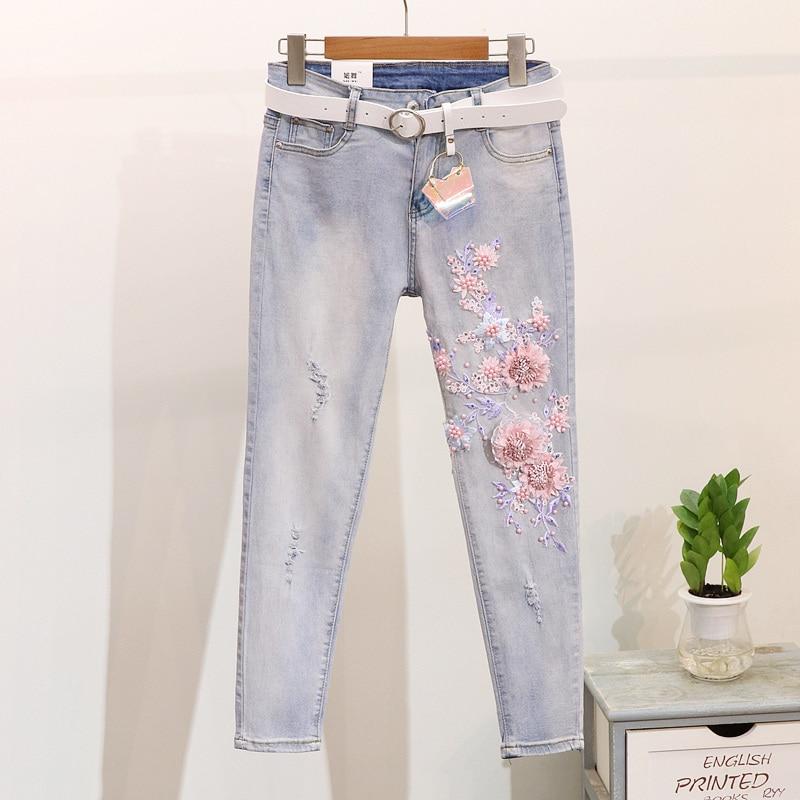 À 2019 Longs Courtes shirt Fleur Printemps Broderie Ensembles multi White Pièces Vintage Denim Jeans Manches Pantalon Dames Nouveau Costume T Femmes De Deux bleu 7W7nrYq