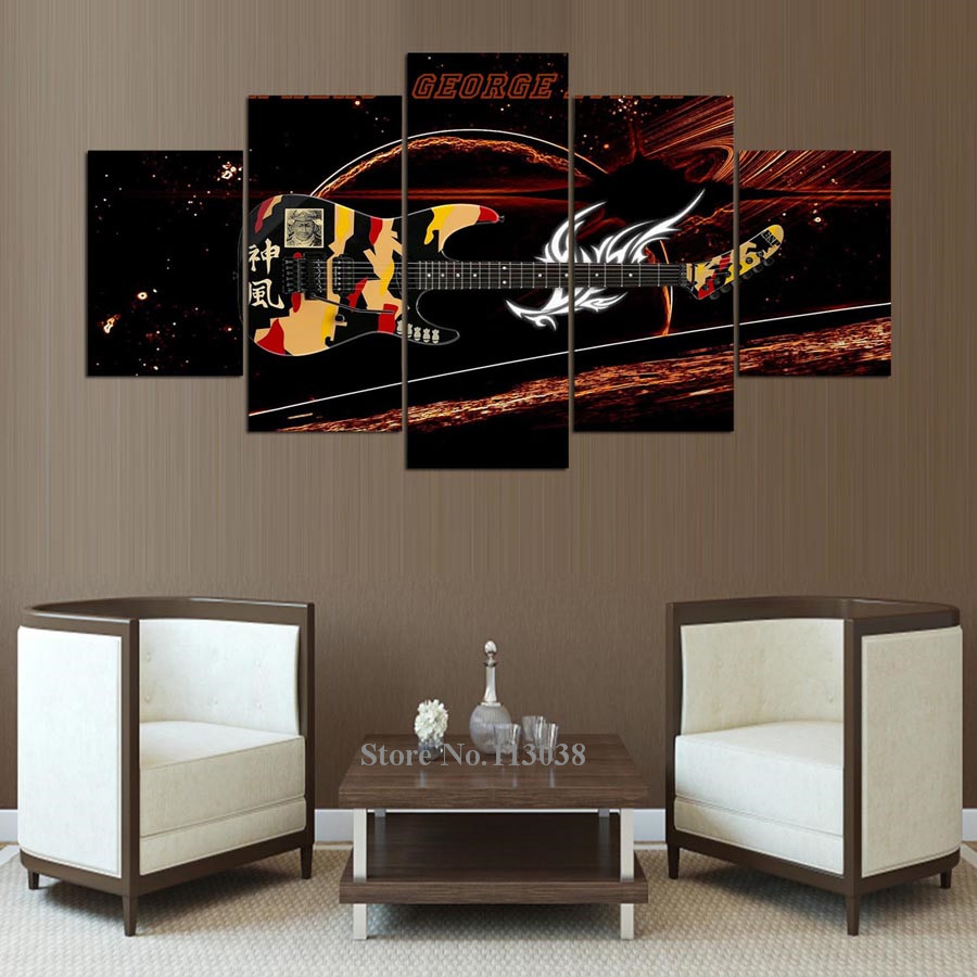 5 Pieces Art Fantastic Guitar Music Instrument Printed Canvas Painting  Living Room Wall Art Pictures Poster In Painting U0026 Calligraphy From Home U0026  Garden On ...