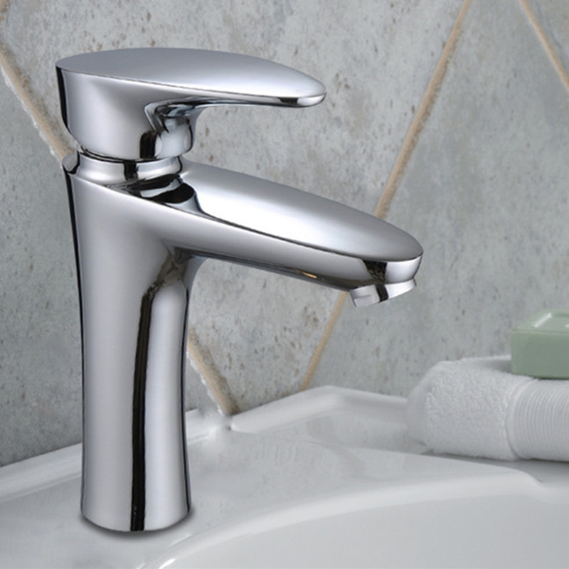 Free shipping high quality single handle basin sink faucet with solid brass bathroom mixer tap from senducs sanitary ware faucet free shipping high quality chrome finished brass in wall bathroom basin faucet brief sink faucet bf019