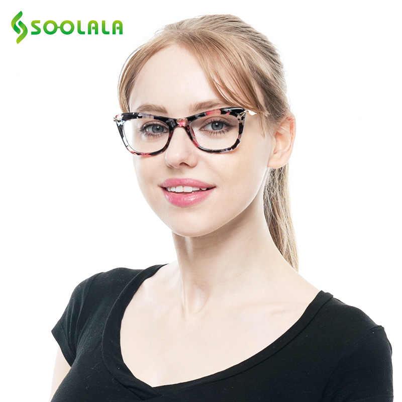 b7841e31f3d4 ... SOOLALA Women's Fashion Designer Cat Eye Eyeglasses Frames with Metal  Arms Reading Glasses Women Anti- ...