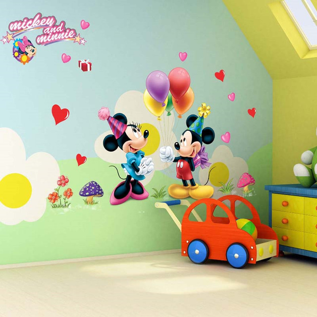 US $3.13 5% OFF|3d lovely Mickey Mouse Minnie Mouse Decoration Cartoon Cute  glass Wall Stickers for Kids Rooms Home Decal Decoration kindergart-in ...