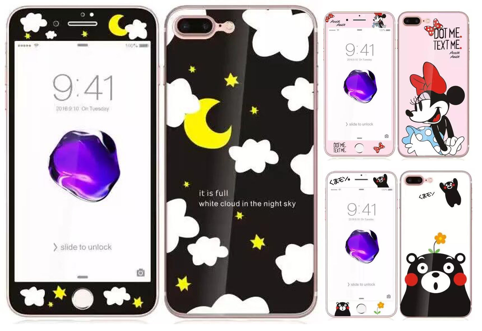 Moon Minnie Kumamon design Tempered Glass film Screen Protector front back cover for iphone 7 7 plus Clean Tools