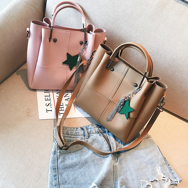 OTHERCHIC Women Fashion Double Bag Tassel Tote Bag Set with Messenger Crossbody Bag All Match Top Handle Handbag Women L-7N08-49