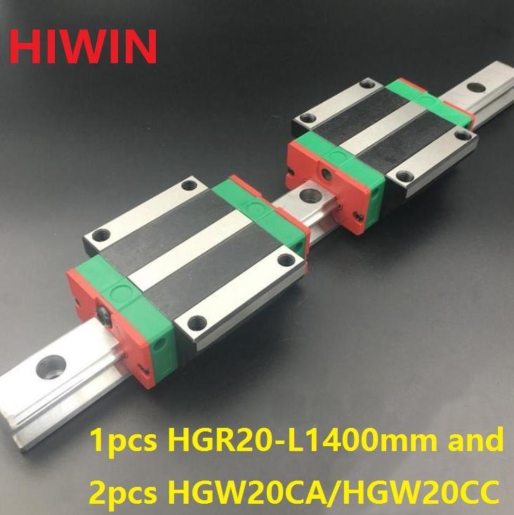 все цены на 1pcs 100% original Hiwin linear guide HGR20 -L 1400mm + 2pcs HGW20CA HGW20CC flange carriage for cnc онлайн