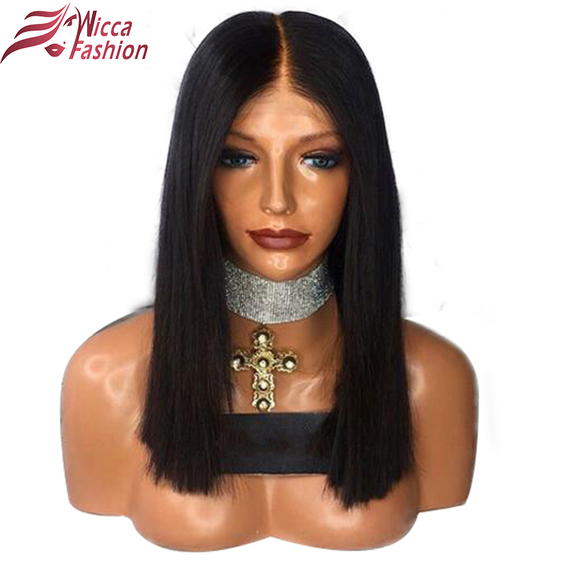 wicca fashion Full Lace Human Hair Wigs For Black Women Pre Plucked Natural Hairline Brazilian Non Remy Short Bob Straight Wig