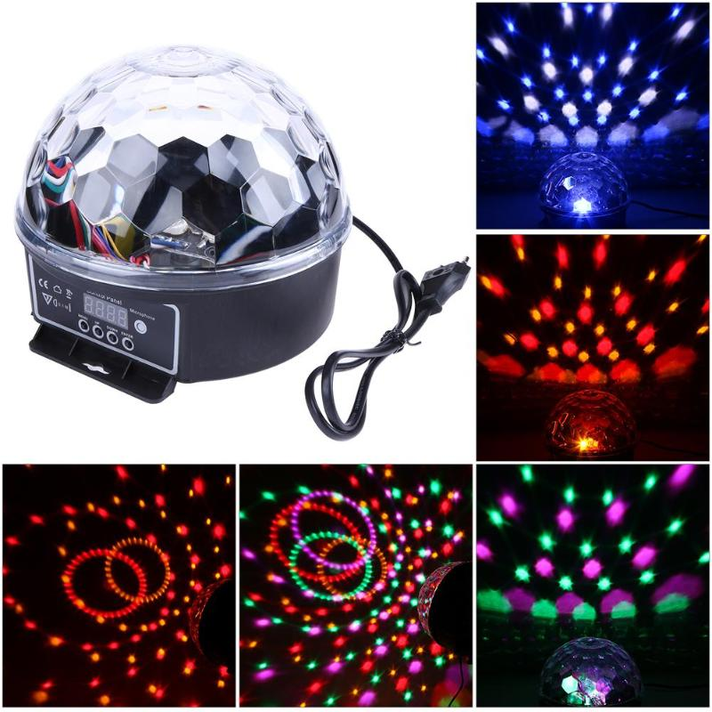 Crystal Magic Ball Led Stage Lamp Sound Control Modes 6 Colors 15W Stage Lighting Disco Laser Light Party Lights Lumiere Laser original bare projector lamp 5j 06w01 001 for benq ep1230 mp723 mp722 projector