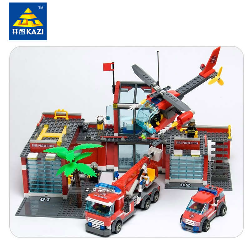 KAZI NEW City Fire Station 774pcs/set Building Blocks DIY Educational Bricks Truck car plane Kids Toys Best Kids Xmas Gifts kazi fire department station fire truck helicopter building blocks toy bricks model brinquedos toys for kids 6 ages 774pcs 8051