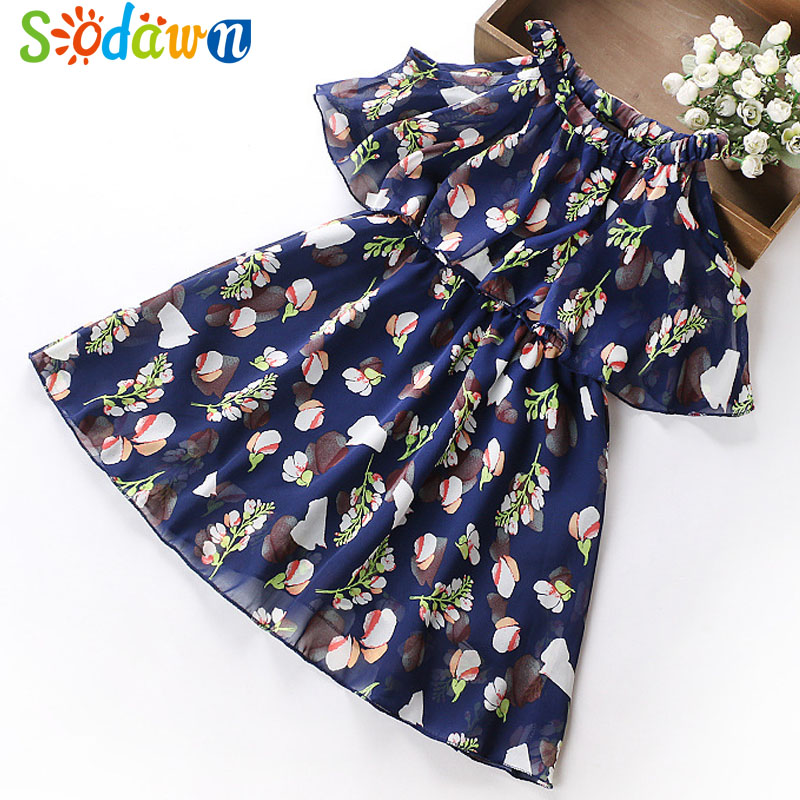 ee196aff1365 Sodawn 2018 Summer Chiffon Floral Dresses Princess Party Dress Teenage Children s  Clothing Girls Clothes Print Design Baby Dress