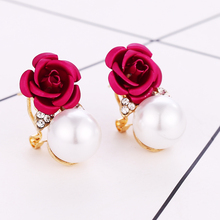 2019 Season New Simple 4 Color Female Imitation Pearl Small Earrings Crystal Red Flower Delicate Brincos For Women Jewelry Gift feelgood individuality vintage silver color jewellery exquisite enamel small flower and imitation pearl jewelry sets for women