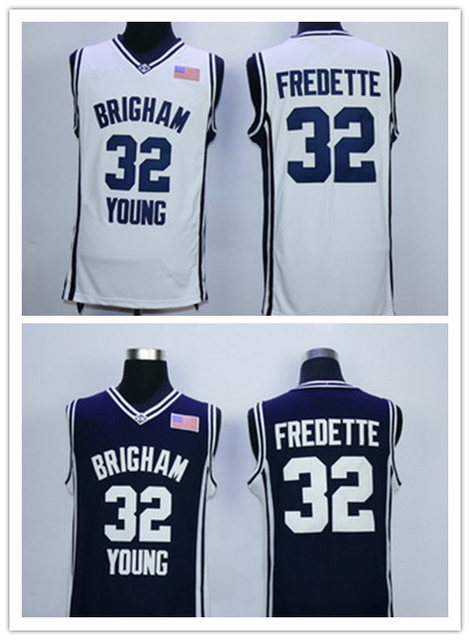 8f9bb2440 Men s Cheap White Brigham Young Cougars College Basketball Jerseys NCAA  Navy BLue  32 Jimmer Fredette BYU Cougars Jersey