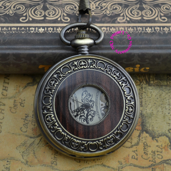 Coupon for wholesale buyer price good quality fashion retro bronze antique wood man men's enamel mechanical pocket watch hour