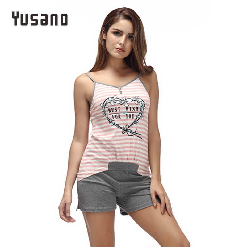 Yusano 2017 Unicórnio Pijamas para As Mulheres Sexy decote em V Sem Mangas Patchwork Coração Bonito Tarja Sleepwear Kigurumi Cinzento Rosa Roupa de Dormir