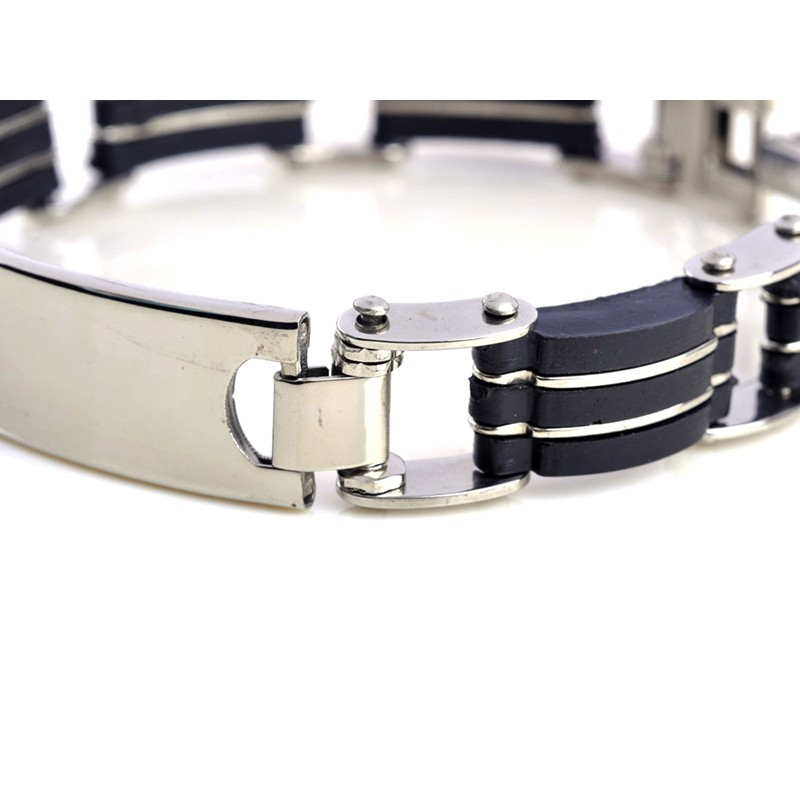 1pc Classic Fashion Black Silica Gel+ Silver Stripes Stainless Steel Cuff Bracelet Bangles for Men Jewelry 6