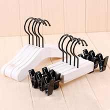20 Pcs White Antique Wooden Suits Hanger for Baby Kids, Sepia Polished make the old Style Clothes Pants with Black Hook