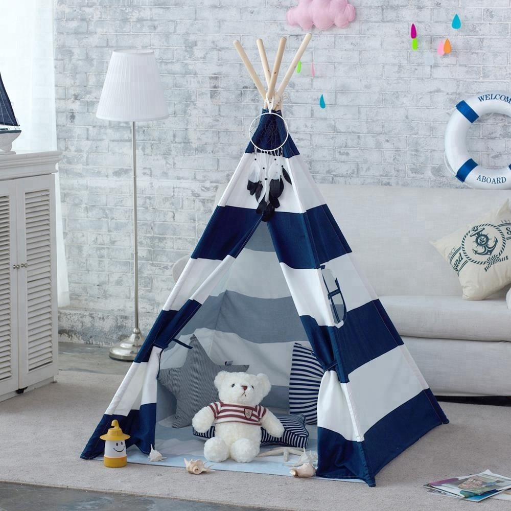 Navy Stripe Canvas Kids Teepee Children Play Tent Tipi Tent Tepee Kids WigwamNavy Stripe Canvas Kids Teepee Children Play Tent Tipi Tent Tepee Kids Wigwam